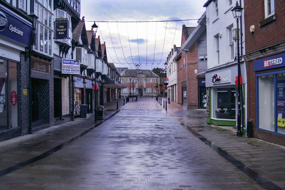 A deserted high street in Wrexham, Wales, where retail footfall has plummeted due to national lockdown. Photo: PA