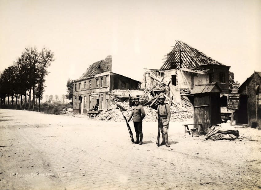 A Franco-British frontier post in Northern France, photographed soon after the end of World War One, circa March 1919. This image is from a series documenting the damage and devastation that was caused to towns and villages along the Western Front in France and Belgium during the First World War. (Photo by Popperfoto/Getty Images)