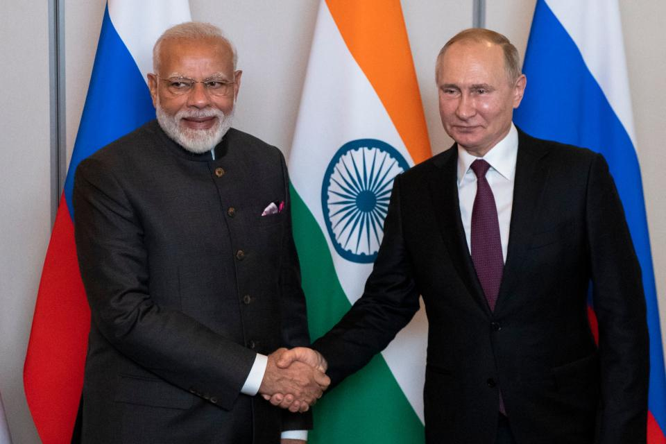 Russian President Vladimir Putin (R) and Indian Prime Minister Narendra Modi shake hands during their meeting on the sidelines of the 11th edition of the BRICS Summit, in Brasilia, Brazil, on November 13, 2019. (Photo by Pavel Golovkin / POOL / AFP) (Photo by PAVEL GOLOVKIN/POOL/AFP via Getty Images)