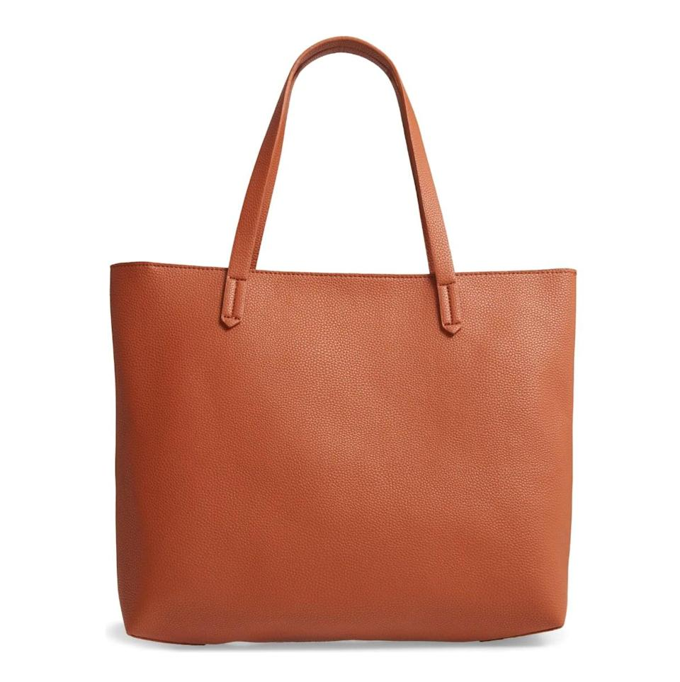 <p>Spacious enough to fit a laptop, a notebook, and important papers, this <span>BP. Faux Leather Classic Tote</span> ($49) will be invaluable when you return to your cubicle.</p>
