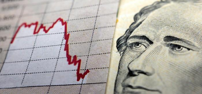 Stock chart in red and picture of Alexander Hamilton.
