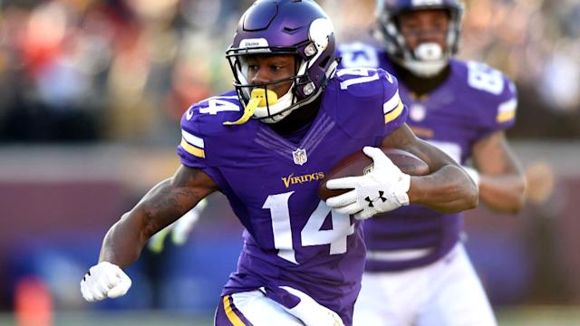 "<a class=""link rapid-noclick-resp"" href=""/nfl/players/28534/"" data-ylk=""slk:Stefon Diggs"">Stefon Diggs</a> might be in play this week (AP)"