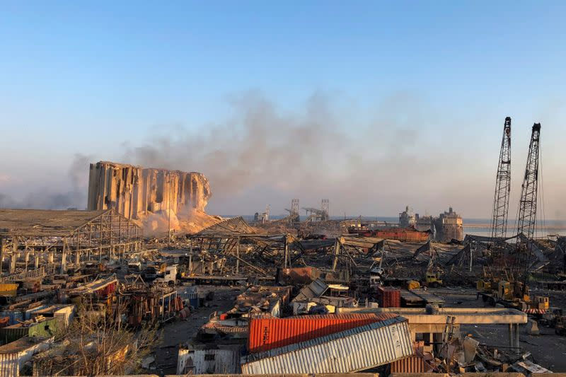 A view shows the aftermath at the site of Tuesday's blast in Beirut's port area