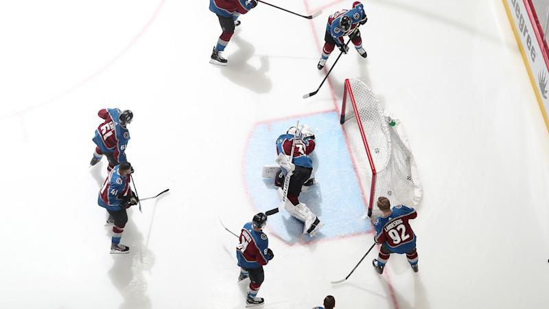 DENVER, COLORADO - MARCH 11: Members of the Colorado Avalanche warm up prior to the game against the New York Rangers at Pepsi Center on March 11, 2020 in Denver, Colorado. (Photo by Michael Martin/NHLI via Getty Images)