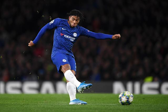 And Reece James, on as a substitute at half time, volleyed home the equaliser. (Photo by Darren Walsh/Chelsea FC via Getty Images)