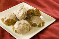 """<p>Loaded with pumpkin purée, raisins, and brown sugar, these fall treats are as soft as a cloud.</p><p><a href=""""https://www.womansday.com/food-recipes/food-drinks/recipes/a10236/spiced-pumpkin-softies-121572/"""" rel=""""nofollow noopener"""" target=""""_blank"""" data-ylk=""""slk:Get the Spiced Pumpkin Softies recipe."""" class=""""link rapid-noclick-resp""""><strong><em>Get the Spiced Pumpkin Softies recipe.</em></strong></a></p>"""