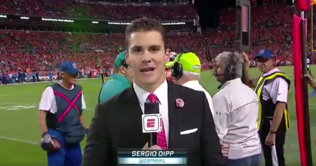 "Sergio Dipp's fame rose after a sideline report on ""Monday Night Football."" (ESPN screen shot)"