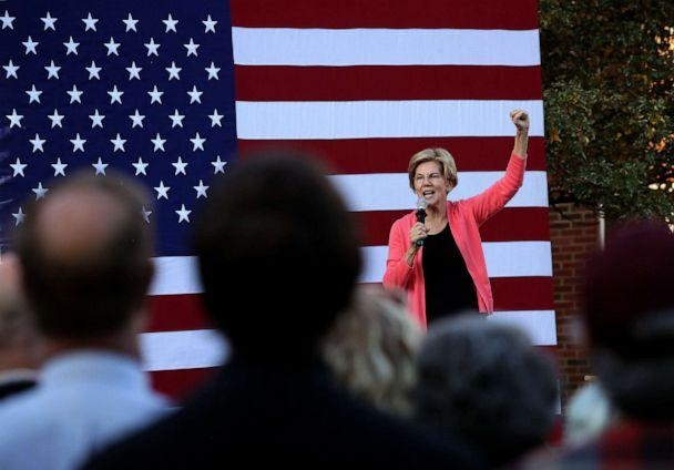 PHOTO: U.S. Senator and presidential candidate Elizabeth Warren campaigns at a town hall event on the Student Union Lawn at Keene State College in Keene, NH on Sep. 25, 2019. (Barry Chin/The Boston Globe via Getty Images)