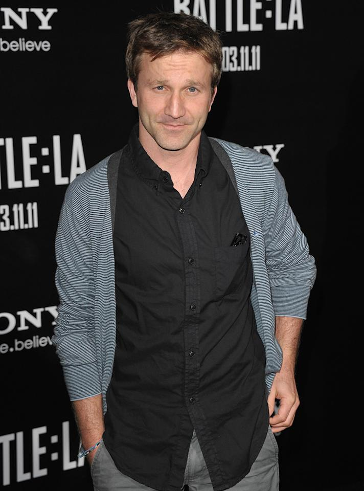 """<a href=""""http://movies.yahoo.com/movie/contributor/1800019779"""">Breckin Meyer</a> at the Los Angeles premiere of <a href=""""http://movies.yahoo.com/movie/1810119633/info"""">Battle: Los Angeles</a> on March 8, 2011."""