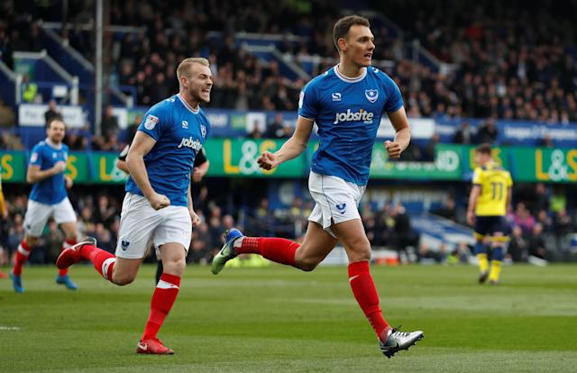"""Soccer Football - League One - Portsmouth vs Oxford United - Fratton Park, Portsmouth, Britain - March 25, 2018 Portsmouth's Kal Naismith celebrates scoring their first goal Action Images/Peter Cziborra EDITORIAL USE ONLY. No use with unauthorized audio, video, data, fixture lists, club/league logos or """"live"""" services. Online in-match use limited to 75 images, no video emulation. No use in betting, games or single club/league/player publications. Please contact your account representative for further details."""