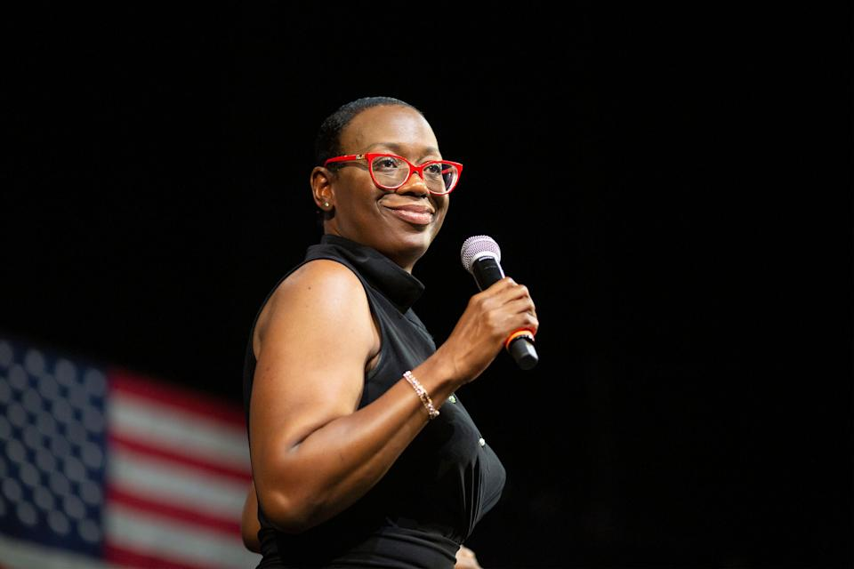 Former Ohio state Sen. Nina Turner (D) has picked up a key endorsement in her bid to succeed Rep. Marcia Fudge (D), who will vacate her seat upon her soon-to-happen Senate confirmation to serve as secretary of the Housing and Urban Development Department. (Photo: David McNew via Getty Images)