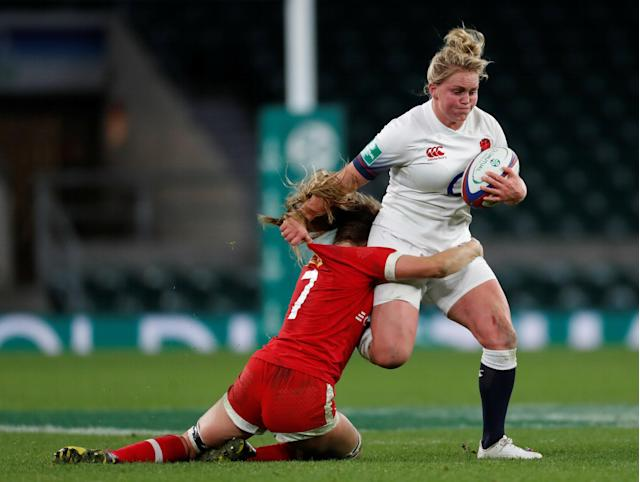 Rugby Union - Women's International - England vs Canada - Twickenham Stadium, London, Britain - November 25, 2017 England's Izzy Noel-Smith gets tackled by Canada's Sara Svoboda Action Images via Reuters/Paul Childs
