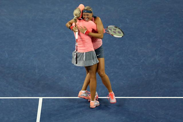 Andrea Hlavackova of Czech Republic and Lucie Hradecka of Czech Republic at the 2013 US Open at USTA Billie Jean King National Tennis Center on September 7, 2013 (AFP Photo/Clive Brunskill)