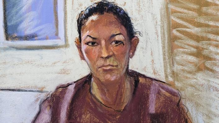 A court sketch of Ghislaine Maxwell appearing at her arraignment hearing in July