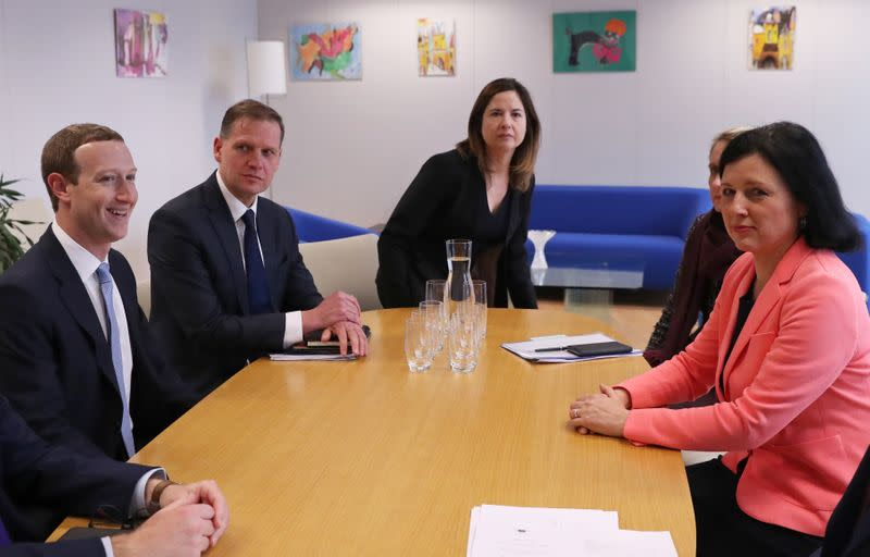 Facebook Chairman and CEO Mark Zuckerberg meets with European Commissioner for Values and Transparency Vera Jourova at the EU Commission headquarters in Brussels