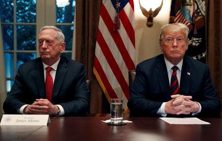 FILE PHOTO: U.S. President Donald Trump speaks to the news media while gathering for a briefing from his senior military leaders in the Cabinet Room at the White House in Washington, U.S.