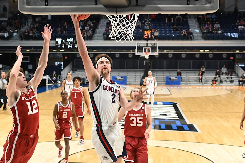Drew Timme and the Gonzaga Bulldogs are the clear favorite in the NCAA tournament. (Photo by Brett Wilhelm/NCAA Photos via Getty Images)