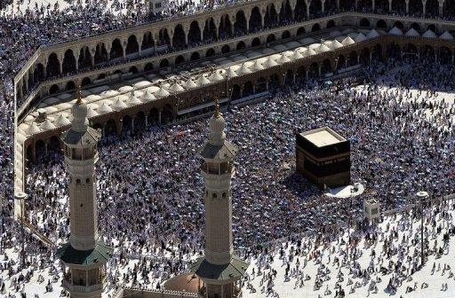 The Kaaba at the Grand Mosque in the holy city of Mecca in Saudi Arabia. The ultra-conservative kingdom currently bans any form of worship other than Islam