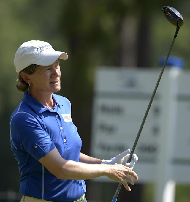 Catriona Matthew watches the flight of her tee shot on the ninth hole in the second round of the Airbus LPGA Classic golf tournament at Magnolia Grove on Friday, May 23, 2014, in Mobile, Ala. (AP Photo/G.M. Andrews)