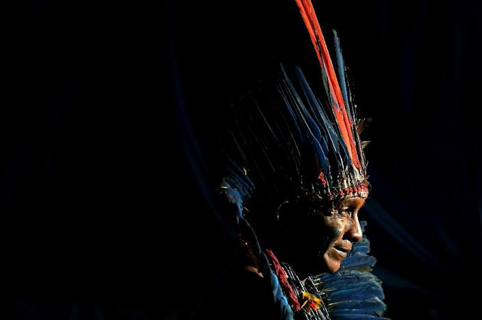 An indigenous man from the Arara tribe at a protest camp in Brasilia on April 25, 2019: some 4,000 indigenous people from different tribes are taking part in protests against encroachments by loggers, miners and farmers on their traditional lands (AFP Photo/CARL DE SOUZA)
