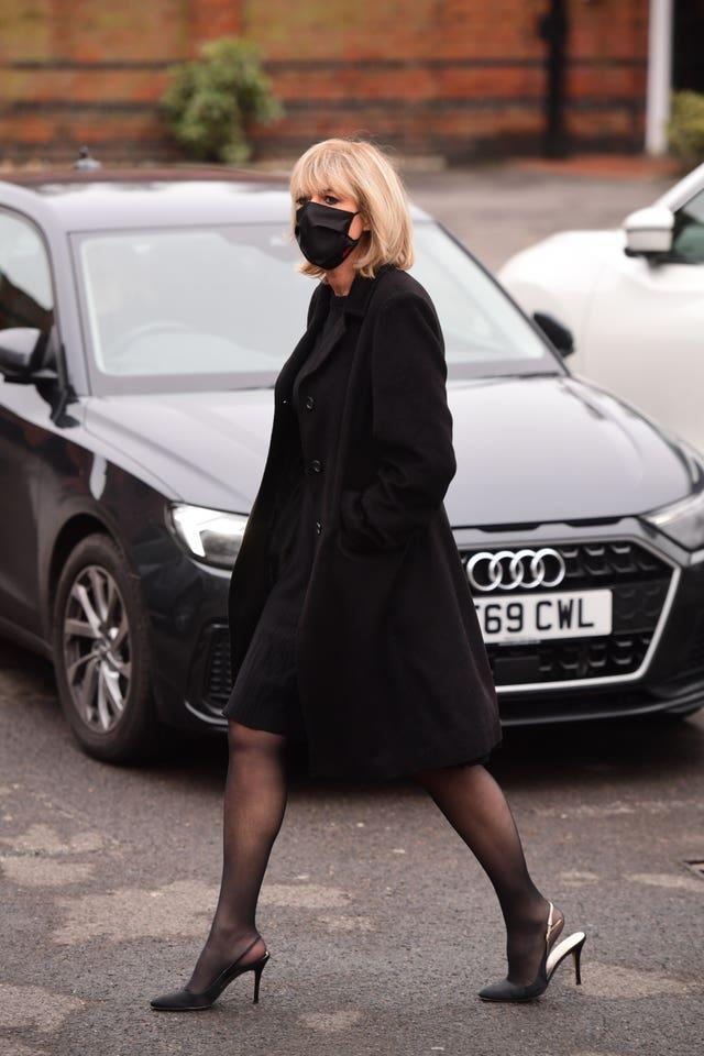 Jane Moore arrives at Golders Green Crematorium, north London, for the private funeral service of Dame Barbara Windsor