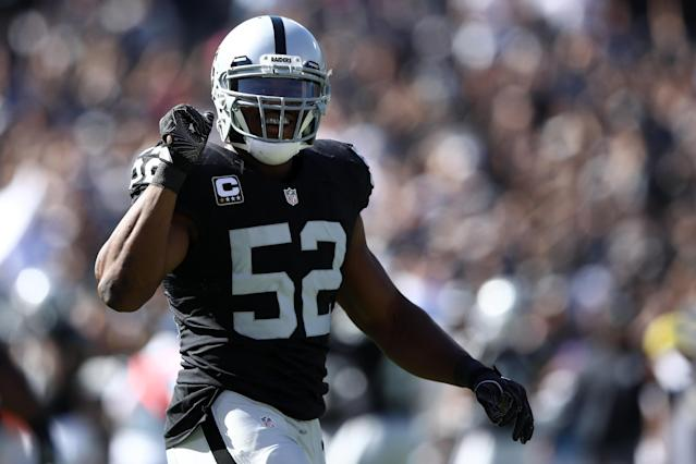 Khalil Mack was the NFL's defensive player of the year in 2016 with the Oakland Raiders. Now he's reportedly off to the Chicago Bears. (Getty)