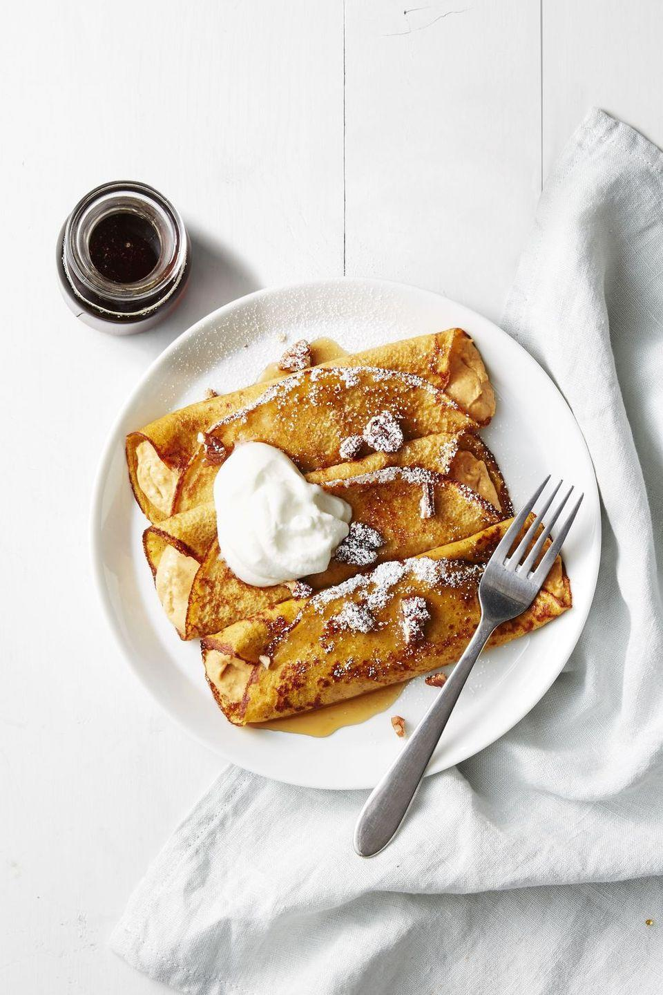 "<p>This classic French brunch entree is decadent, so we wouldn't mind seeing it on our plates immediately following the Turkey Day feast. Agree?</p><p> <em><a href=""https://www.goodhousekeeping.com/food-recipes/a41238/pumpkin-cheesecake-crepes-recipe/"" rel=""nofollow noopener"" target=""_blank"" data-ylk=""slk:Get the recipe for Pumpkin Cheesecake Crepes »"" class=""link rapid-noclick-resp"">Get the recipe for Pumpkin Cheesecake Crepes »</a></em> </p>"