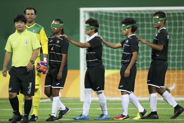 2016 Rio Paralympics - Football Soccer - Men's 5-a-side Preliminaries Pool B - China v Mexico - Olympic Tennis Centre - Rio de Janeiro, Brazil - 11/09/2016. Players of the team Mexico before the match. REUTERS/Ueslei Marcelino FOR EDITORIAL USE ONLY, NOT FOR SALE FOR MARKETING OR ADVERTISING CAMPAIGNS.