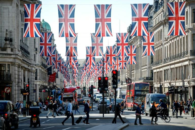 Union flag decorations are seen in Regent Street, London ahead of the Royal Wedding of Prince Harry and US actress Meghan Markle