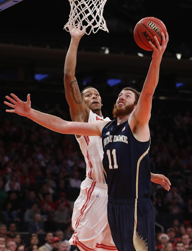 Notre Dame's Garrick Sherman (11) shoots against Ohio State's Amir Williams during the first half of an NCAA college basketball game Saturday, Dec. 21, 2013, in New York. (AP Photo/Jason DeCrow)