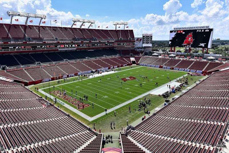 TAMPA, FL - SEPTEMBER 16: A general view of Raymond James Stadium prior to an NFL game between the Philadelphia Eagles and the Tampa Bay Buccaneers on September 16, 2018, at Raymond James Stadium in Tampa, FL. (Photo by Roy K. Miller/Icon Sportswire via Getty Images)