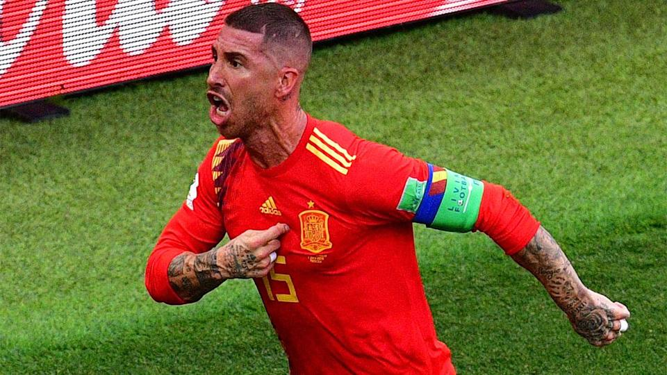Ramos aggressively celebrates the opening goal. Pic: Getty