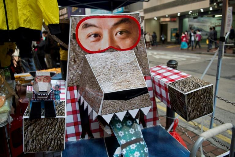 A cardboard figure depicting then Hong Kong chief fxecutive Leung Chun-ying as a wolf at a 2014 pro-democracy (AFP Photo/Alex Ogle)