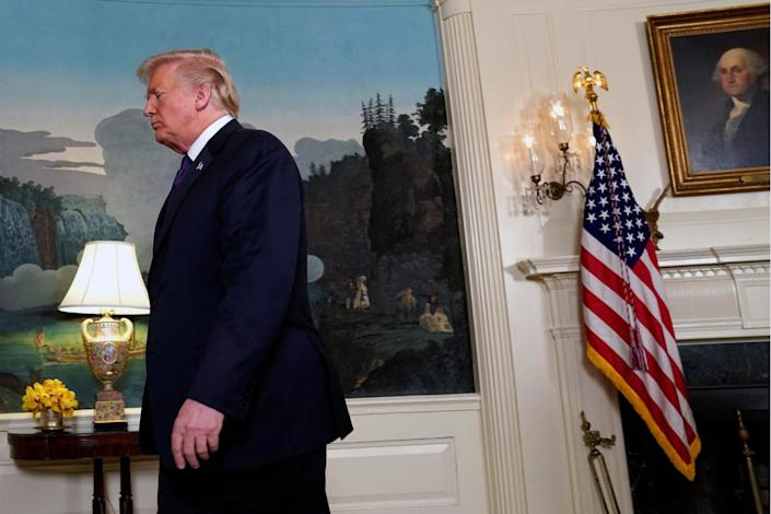 U.S. President Donald Trump makes a statement about Syria