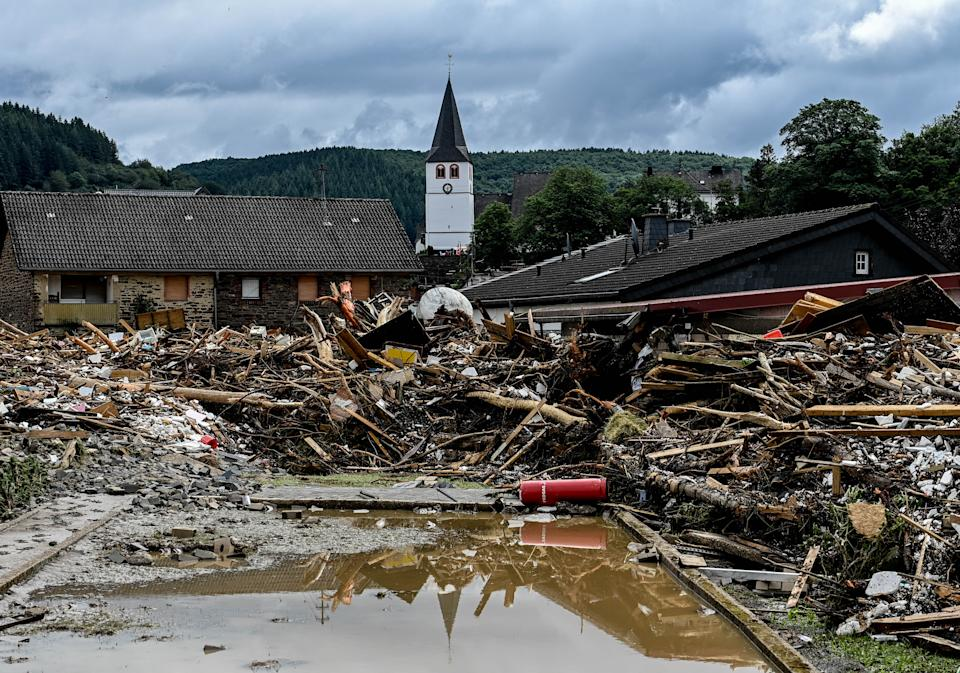 Flood damage in front of a church Thursday in Schuld, Germany.