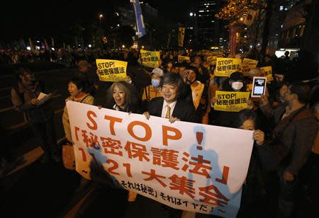 Protesters shout slogans during a march against the government's planned secrecy law, in Tokyo