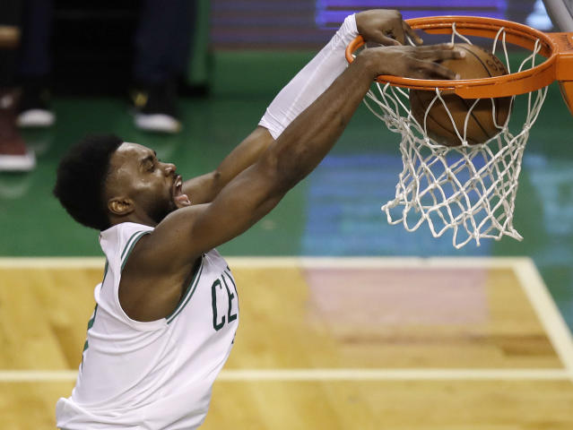 "<a class=""link rapid-noclick-resp"" href=""/nba/players/5602/"" data-ylk=""slk:Jaylen Brown"">Jaylen Brown</a> and the <a class=""link rapid-noclick-resp"" href=""/nba/teams/bos"" data-ylk=""slk:Celtics"">Celtics</a> came up one win short of the NBA Finals last season. He's confident they'll finish the job this time around. (AP)"