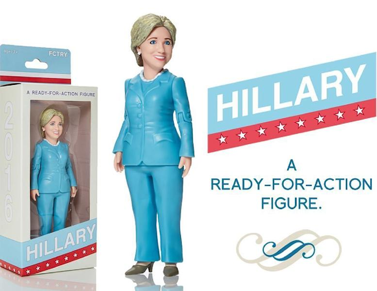 An action figure doll of Hillary Clinton created by a Brooklyn toy company called FCTRY (AFP Photo/)