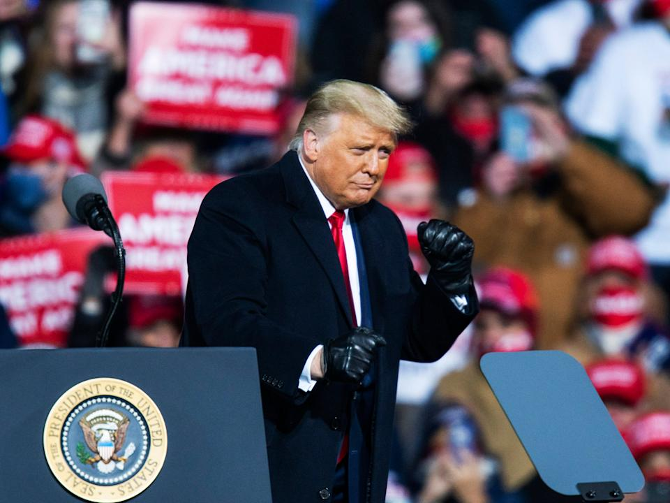 Trump dances for a crowd after speaking at a rally in October 2020 (Getty Images)