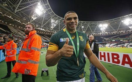South Africa's Bryan Habana celebrates after the game. Action Images via Reuters / Peter Cziborra Livepic