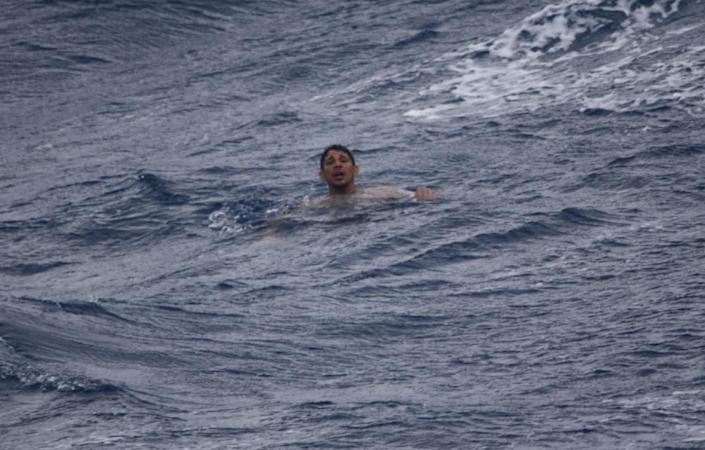 A man treads water and awaits rescue crews approximately 32 miles southeast of Key West, Florida, July 7, 2021. / Credit: U.S. Coast Guard photo by Coast Guard Cutter Thetis crew