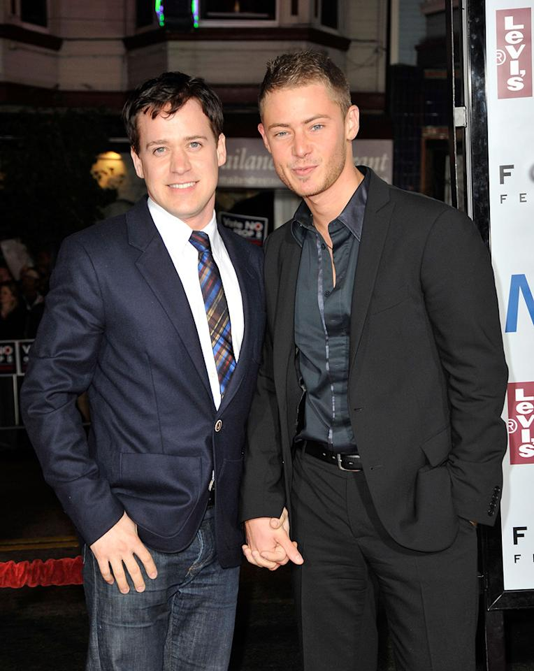 """<a href=""""http://movies.yahoo.com/movie/contributor/1808463649"""">TR Knight</a> and Mark Cornelsen at the San Francisco premiere of <a href=""""http://movies.yahoo.com/movie/1810041985/info"""">Milk</a> - 10/28/2008"""