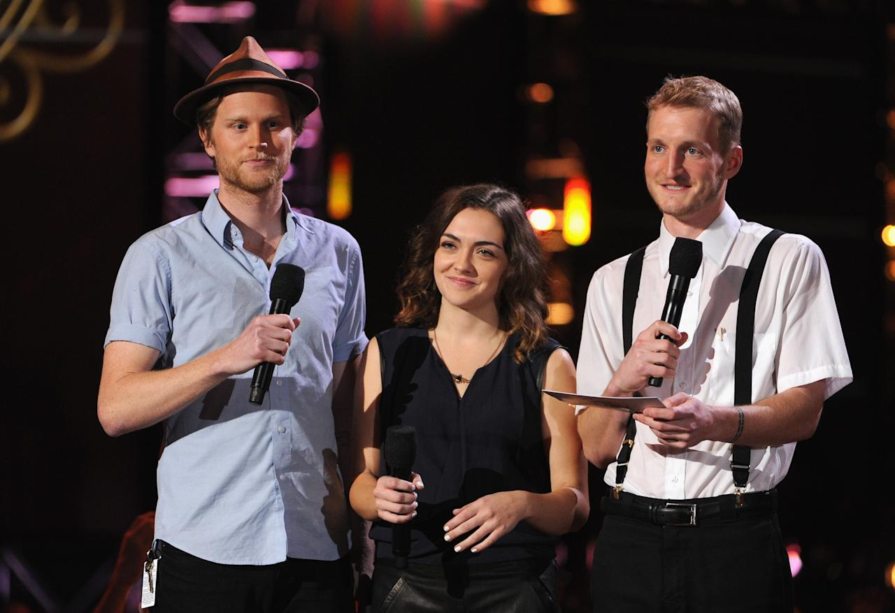 NASHVILLE, TN - DECEMBER 05: Wesley Schultz, Neyla Pekarek, and Jeremiah Fraites of The Lumineers speak onstage at The GRAMMY Nominations Concert Live!! held at Bridgestone Arena on December 5, 2012 in Nashville, Tennessee.  (Photo by Kevin Winter/Getty Images)