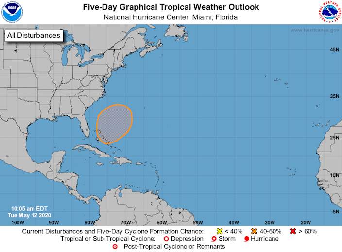 A subtropical storm could form within the orange shaded area off the East Coast within the next five days.