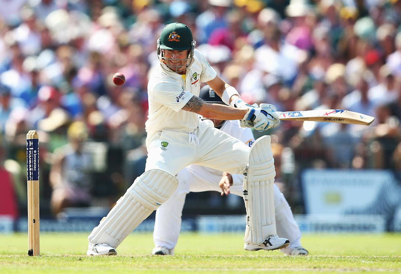MANCHESTER, ENGLAND - AUGUST 01: Michael Clarke of Australia hits out during day one of the 3rd Investec Ashes Test match between England and Australia at Old Trafford Cricket Ground on August 1, 2013 in Manchester, England. (Photo by Michael Steele/Getty Images)