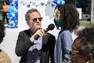 <p>Neil Patrick Harris mans the mic on Thursday while helping Clear to reunite more than 100 families who hadn't seen each other since before the COVID-19 pandemic at the CLEAR CONNECTS: A Day of Families event at New Jersey's MetLife Stadium.</p>
