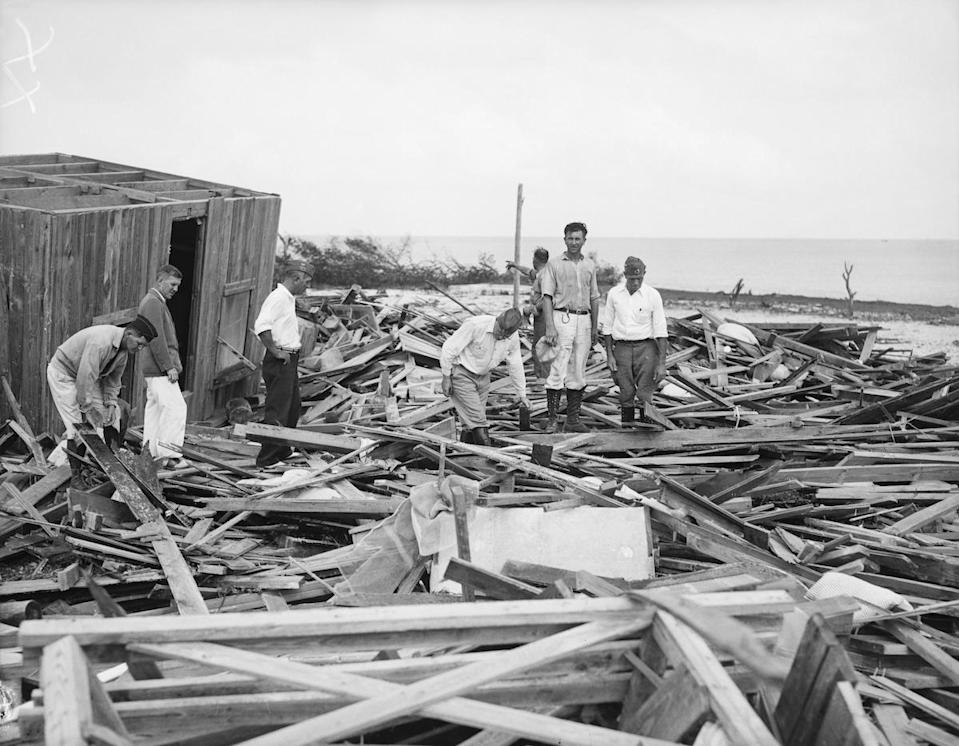 (Original Caption) 9/7/1935-Miami, FL- A scene typical of any spot in the Florida Keys these days, as rescue workers search the hurricane devastated ground for more victims of last Monday's 100-mile-an-hour hurricane, in which an estimated 250 persons were killed.