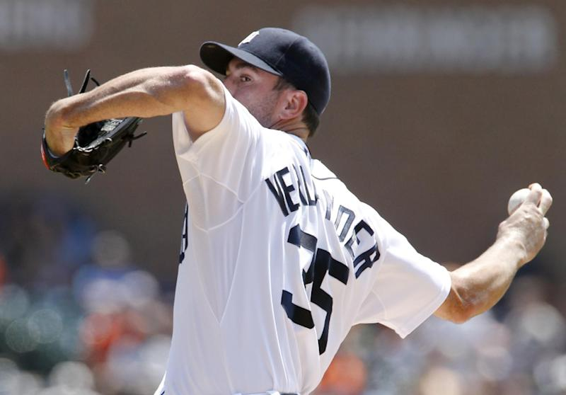 Detroit Tigers starter Justin Verlander pitches against the Texas Rangers in the first inning of a baseball game on Sunday, July 14, 2013, in Detroit. (AP Photo/Duane Burleson)