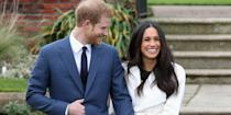 """<p>At the same outing, photographers stole a candid snap of Markle grinning ear-to-ear alongside Harry. For the occasion, Harry opted for a smart navy suit and tie, while Markle wore a stunning white belted coat from <a href=""""https://www.harpersbazaar.com/uk/bazaar-brides/a13935846/meghan-markles-white-engagement-coat-prompts-internet-surge/"""" rel=""""nofollow noopener"""" target=""""_blank"""" data-ylk=""""slk:Canadian brand Line"""" class=""""link rapid-noclick-resp"""">Canadian brand Line</a>, with nude ankle-strap Aquazzura heels, and <a href=""""http://www.mappinandwebb.com/Birks-Yellow-Gold-and-Opal-Stud-Earrings/p/37510162/"""" rel=""""nofollow noopener"""" target=""""_blank"""" data-ylk=""""slk:yellow-gold and opal earrings by Birks"""" class=""""link rapid-noclick-resp"""">yellow-gold and opal earrings by Birks</a>.</p>"""