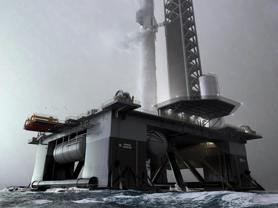 <p>Starship will take off from an ocean spaceport called Deimos in 2022</p> (Elon Musk/ Twitter)